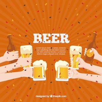 ビール、背景、ビール、手