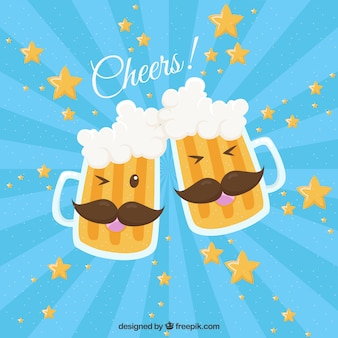 Beer background with mustaches