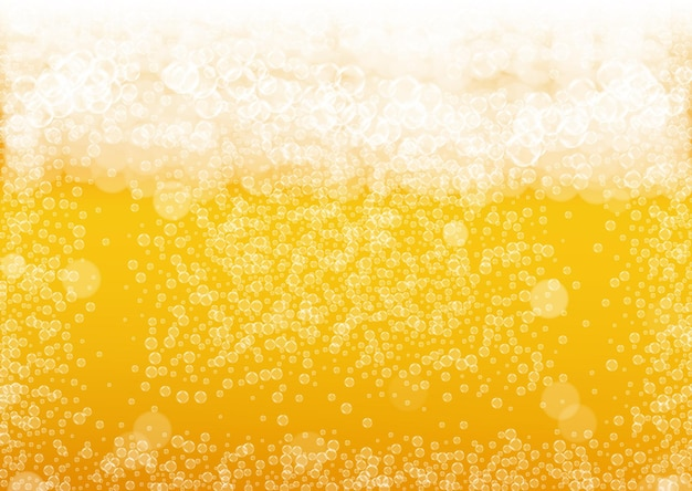 Beer background with realistic bubbles.  cool beverage for restaurant menu design, banners and flyers.  yellow horizontal beer background with white foam. fresh cup of lager for brewery design.
