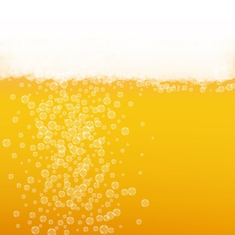 Beer background with realistic bubbles