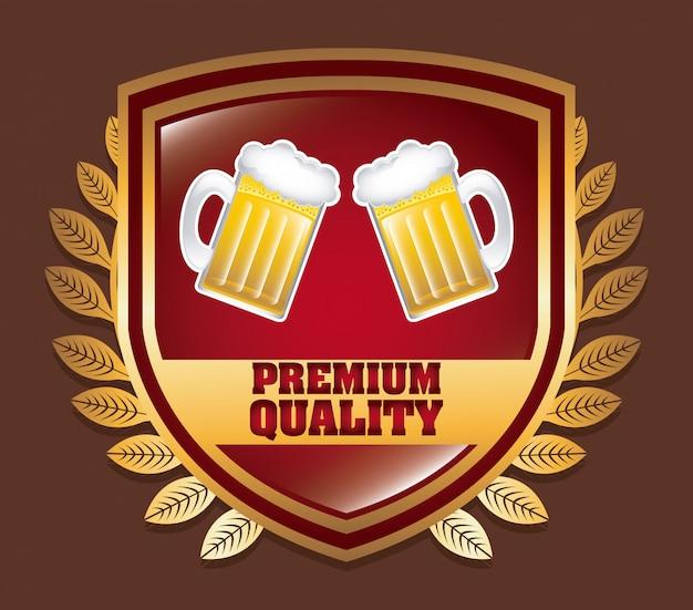 茶色の上のビールのバッジ