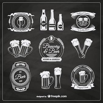 Пиво значки в стиле ретро
