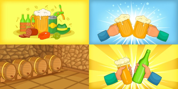 Beer banner set horizontal in cartoon style