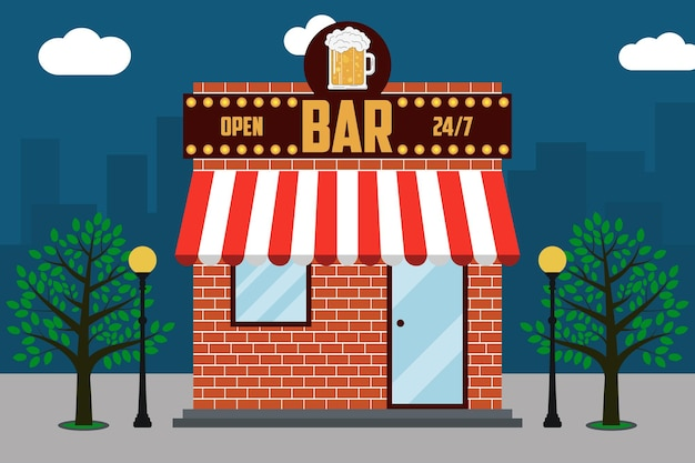 Beer bar building facade with signboard with glass of beer street lamps trees