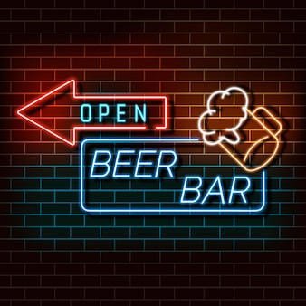 Beer bar neon light banner on a brick wall.