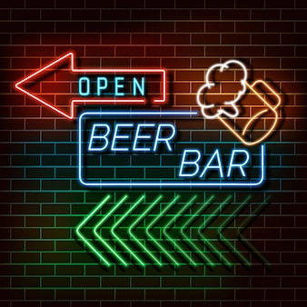Beer bar neon light banner on brick wall.