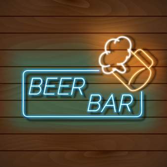 Beer bar neon light banner on a wooden wall