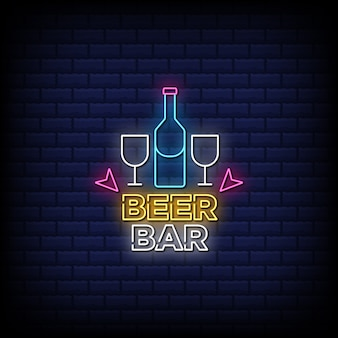 Beer bar neon signs style text