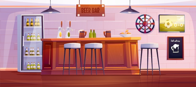 Beer bar or pub, empty interior with wooden desk