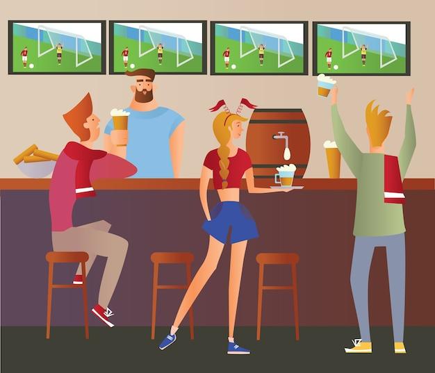 ビールバー-レストラン。バーでチームを応援するサッカーファン。サッカーの試合、バーテンダーのいるバー、アルコール飲料、テレビ。平らな 。