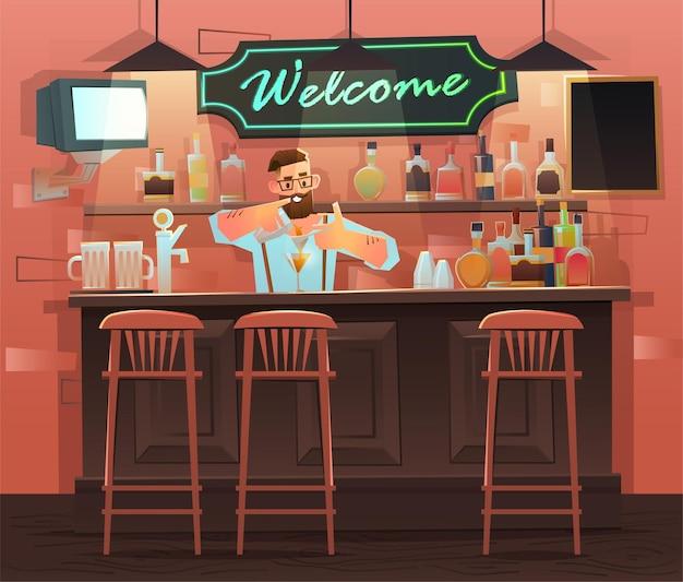 Пивной бар - ресторан. интерьер с барной стойкой, барными стульями и полками с алкоголем. бармен за стойкой работает