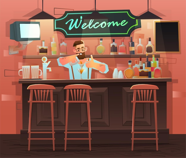 Beer bar - restaurant. interior with bar counter, bar chairs and shelves with alcohol. bartender at the counter works