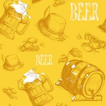 Beer barrel seamless pattern oktoberfest festival