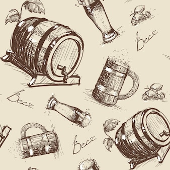 Beer barrel seamless pattern oktoberfest