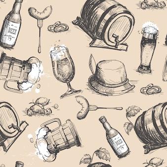 Beer barrel seamless pattern