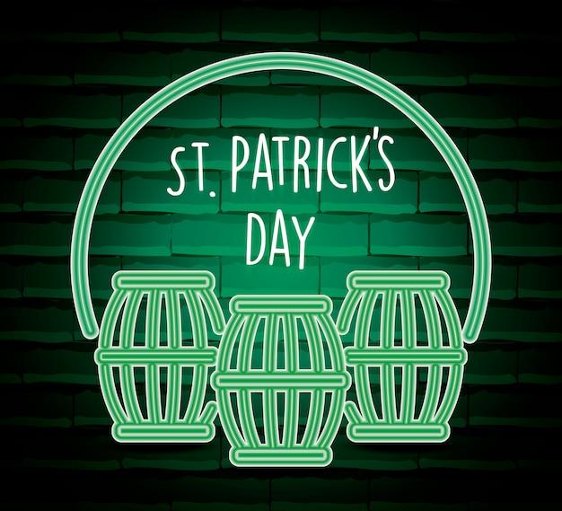 Beer barrels saint patricks day neon label