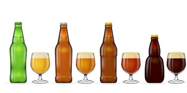 Пивная бутылка и стакан пива. набор иллюстрирования напитка эля, пива и кваса