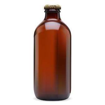 맥주 병 갈색 유리 빈입니다. 모자가 있는 차가운 알코올 음료, 와인, 사이다 또는 소다 음료. 리퀴드 리프레쉬 제품용 호박색 용기