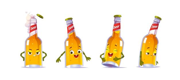 Персонаж пивной бутылки, забавная стеклянная фляга kawai с желтым жидким алкогольным напитком и милое лицо выражают счастливые и грустные эмоции