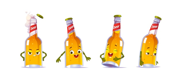 Beer bottle character, kawai funny glass flask with yellow liquid alcohol drink and cute face express happy and sad emotions