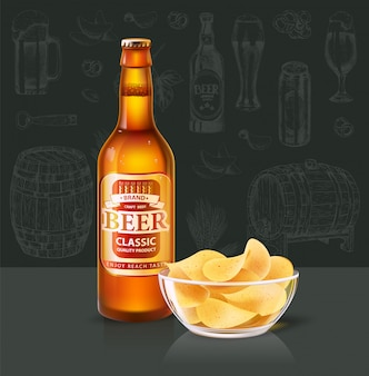 Beer in bottle and chips in glass bowl on table
