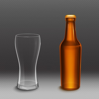 Beer bottle and empty tall glass. vector realistic mockup of blank lager or dark beer bottle from brown glass with golden cap and clear mug. template of alcohol beverage design