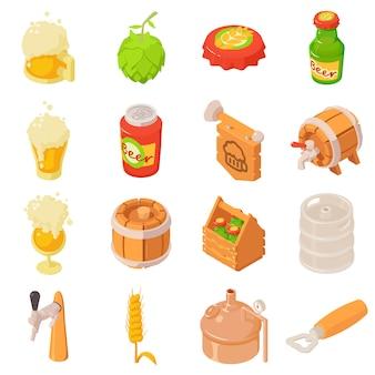 Установленные значки ярлыка напитка стекла бутылки пива. изометрическая иллюстрация 16 бутылок пива бутылку напитка этикетки векторные иконки для веб