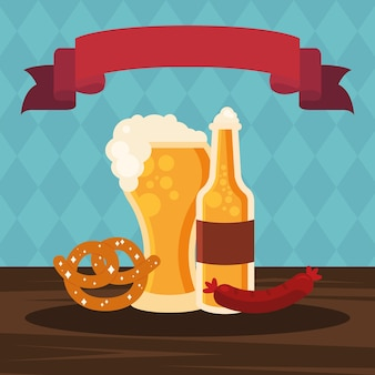 Стеклянная пивная бутылка, крендель и дизайн колбасы, немецкий фестиваль октоберфест и тема празднования