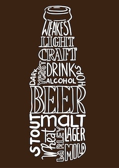 Beer bottle image composed of words (tag cloud)