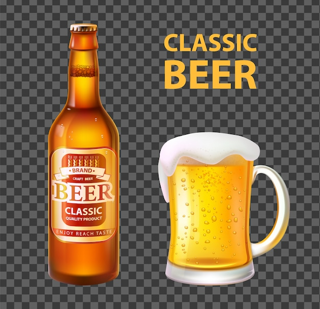 Beer in bottle and mug isolated realistic