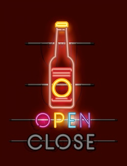 Beer bottle neon light