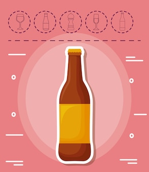 Beer bottle and picnic related icons over pink background, colorful design. vector illustration
