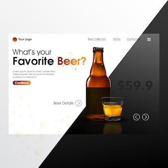 Beer bottle realistic mock up with landing page illustration