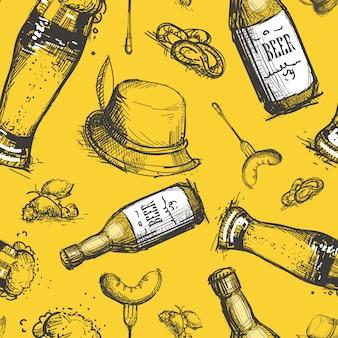 Beer bottle seamless pattern oktoberfest