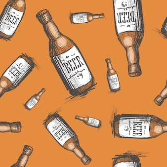 Beer bottle seamless pattern
