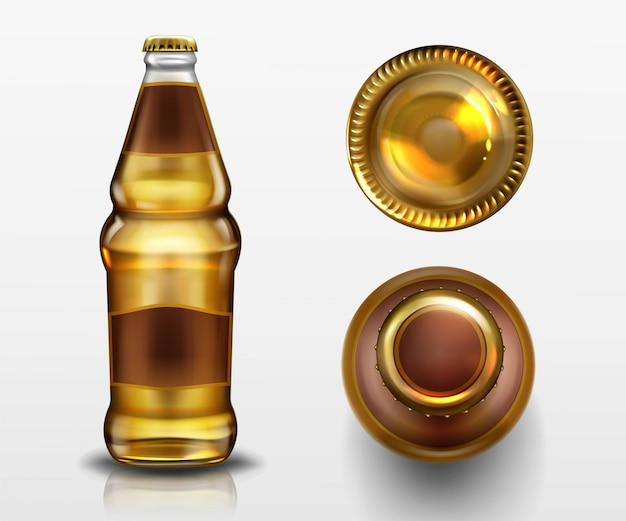 Beer bottle top and bottom view, alcohol drink in blank glass flask with closed metal cork and liquid isolated