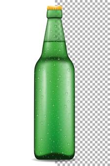 Beer in bottle on transparent