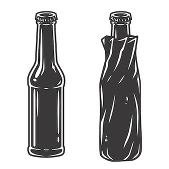 거품과 뚜껑이 있는 맥주병. 병 세트