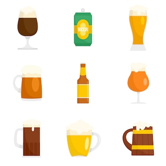 Beer bottles glass icons set