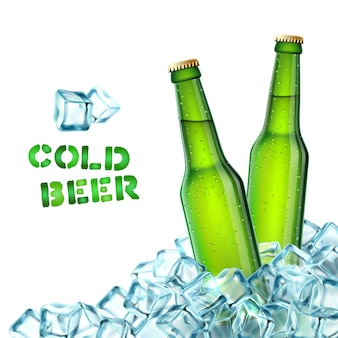 Beer bottles and ice