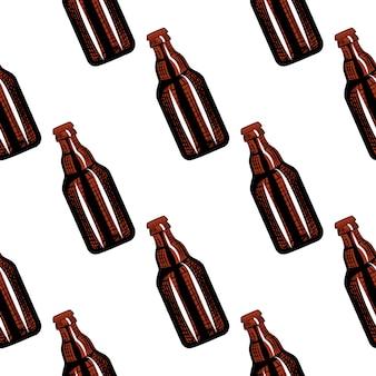 Beer bottles seamless pattern. engraving style illustration.