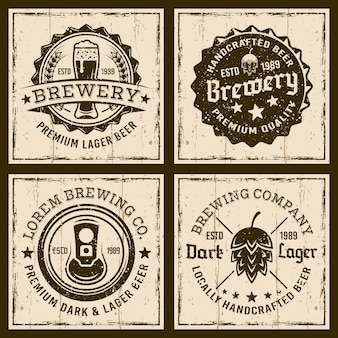 Beer and brewery emblems, labels or badges on grunge background