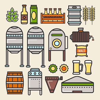 Beer brewery factory production line elements vector icons
