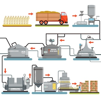 Beer brewing process, production of beer  illustrations  on a white background