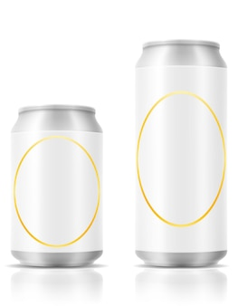 Beer in can on white