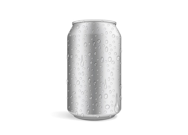 Beer can with drops isolated on white