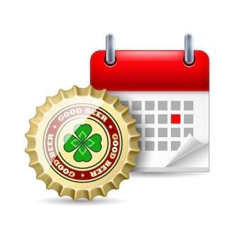 ビールキャップとカレンダー