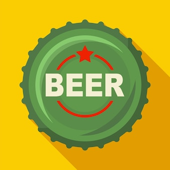 黄色の背景のフラットベクトルイラストにロゴのビールキャップ