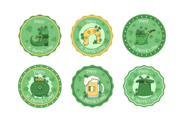 Beer caps badges st. patrick's day hand drawn