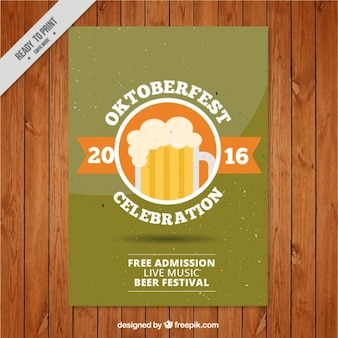 Beer in a circle over green background with white spots